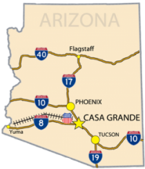 Arizona map of interstates