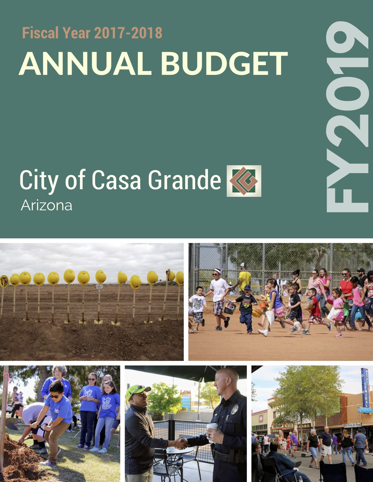 5 picture collage of the past year with words annual budget FY2019