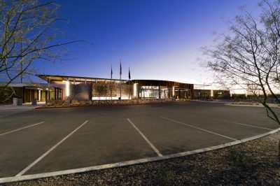 Casa Grande police building at sunset