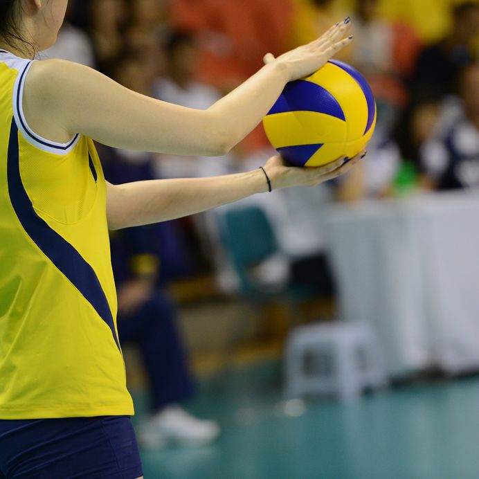 Volleyball player getting ready to serve