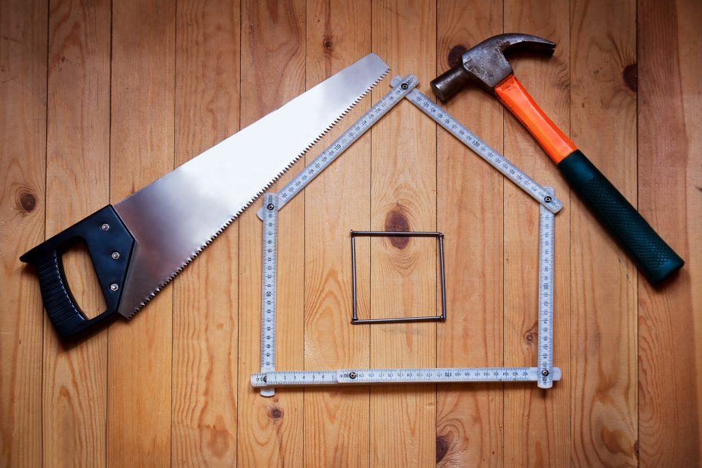 Set of tools in the shape of a house