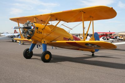 Yellow airplane at the casa grande municipal airport, cactus fly-in