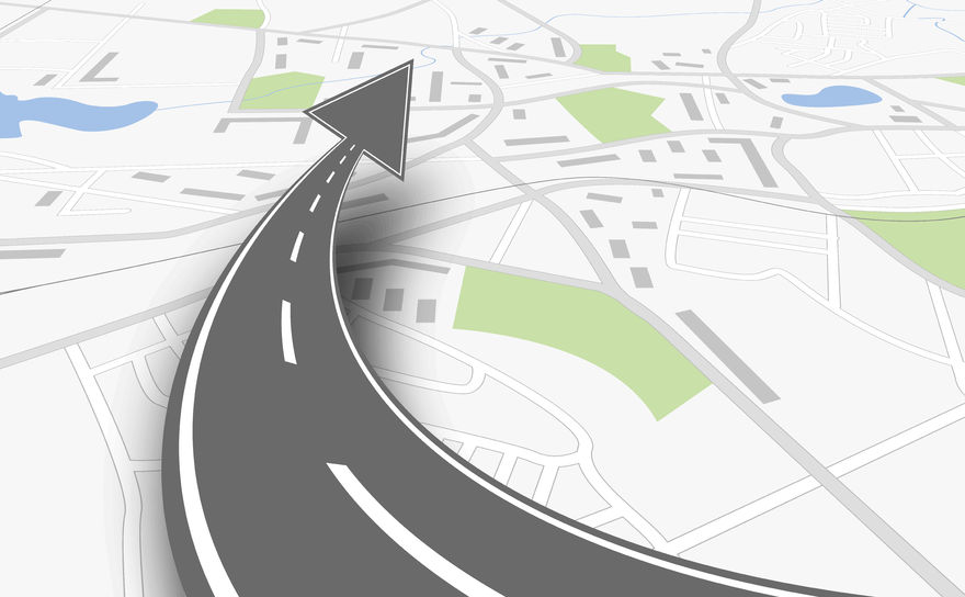 navigation concept with map and up road