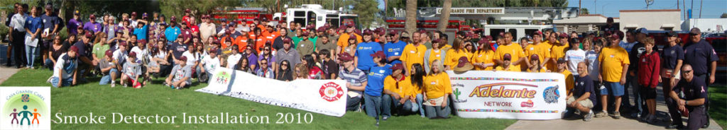 large group of fire volunteers for the smoke detector installation in 2010