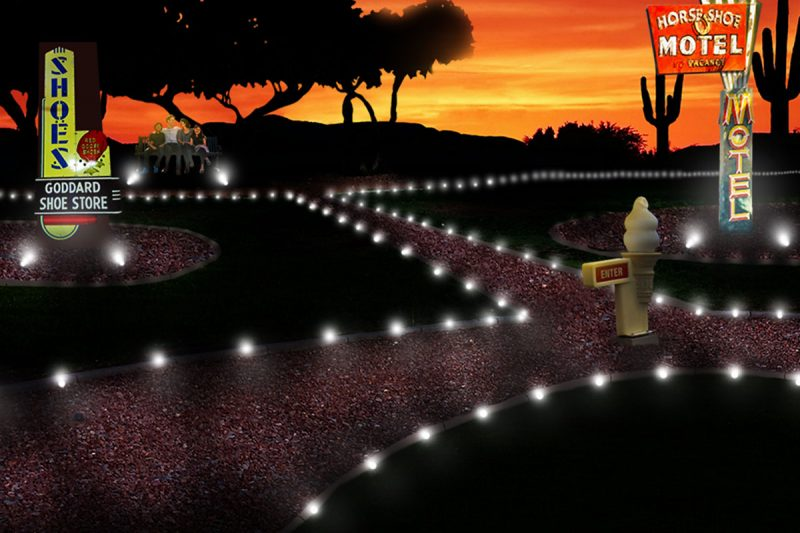 rendering of the future neon sign park