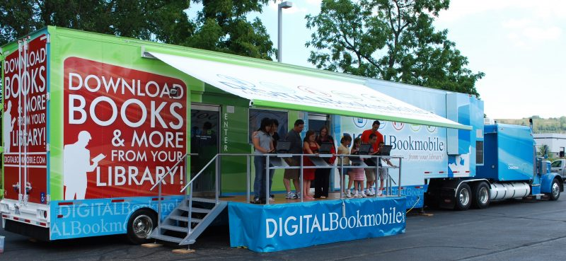 Digital bookmobile parked outside