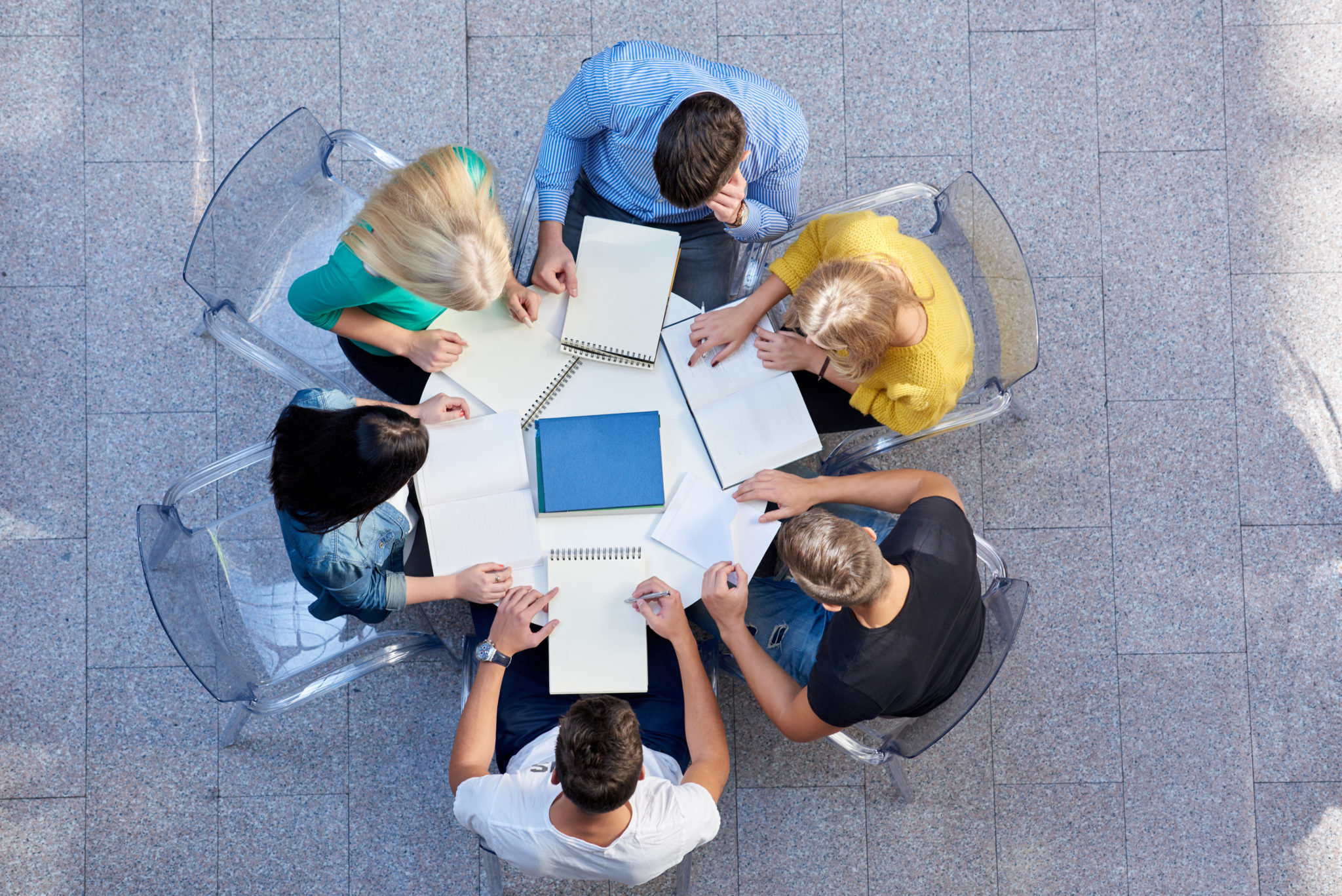 top view, group of students together at school table