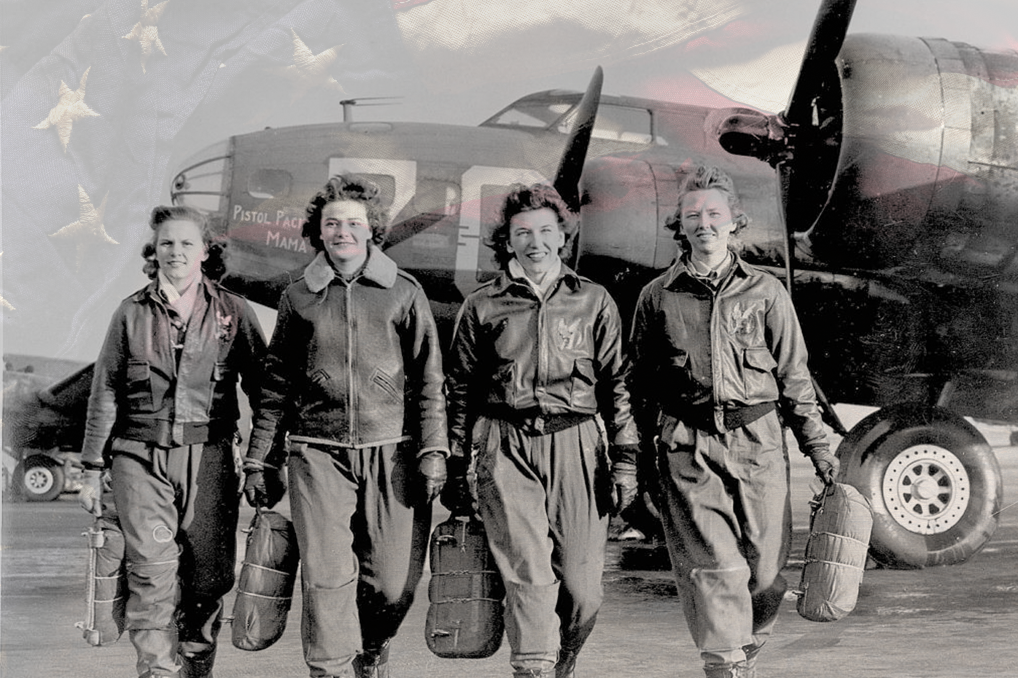Iconic WAPS women walking in front of their airplanes