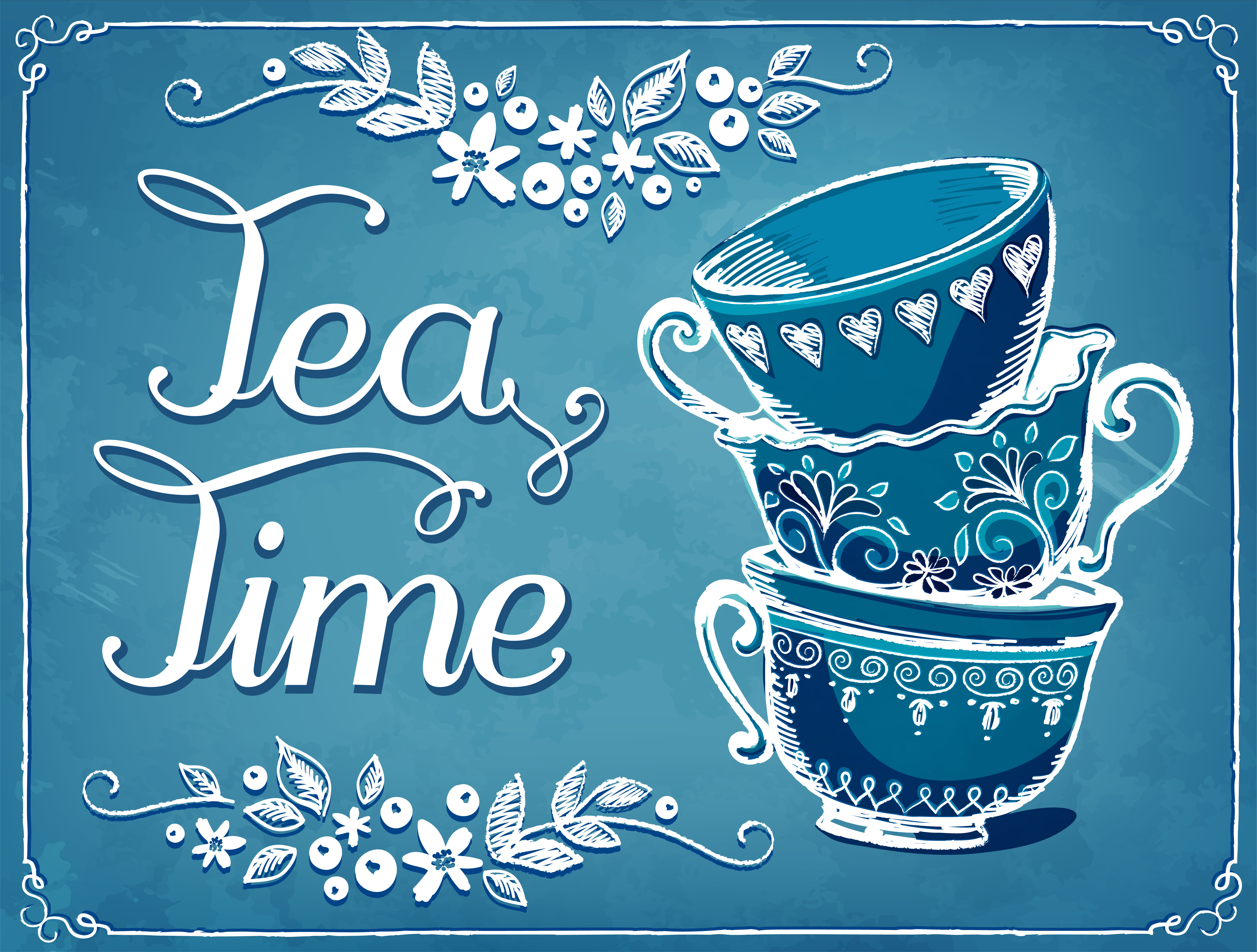 Illustration Tea Time with cute cups. Floral backgraund. Freehand drawing with imitation of chalk sketch
