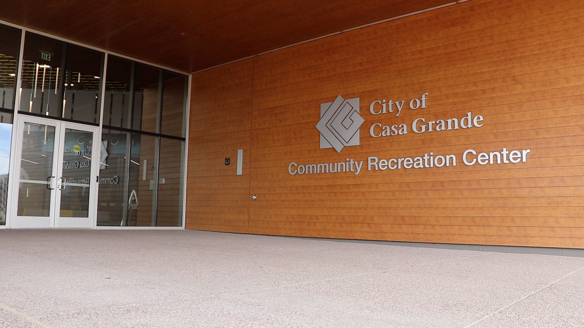 The front entrance of the Community Recreation Center