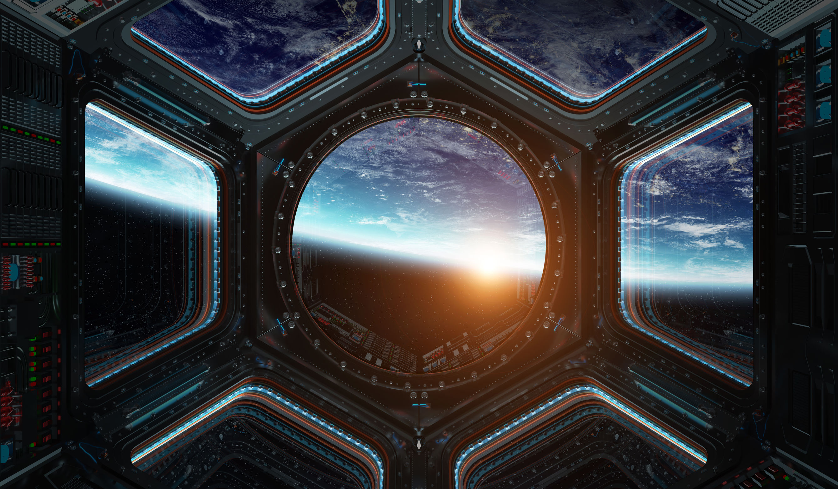 Window view of planet earth from a space station in space 3D rendering elements of this image furnished by NASA