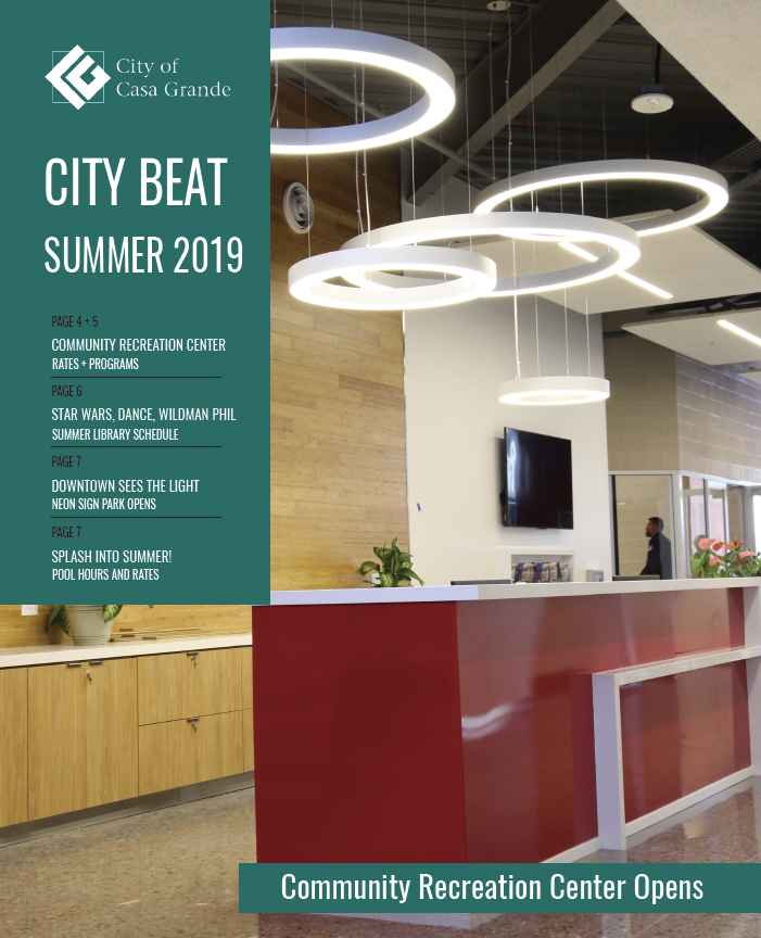 City Beat Newsletter written in text over a picture of the new recreation center's help desk
